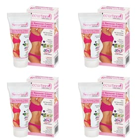 Securteen Hair Remover Cream 60g for Bikini Line & Underarms (Pack Of 4)