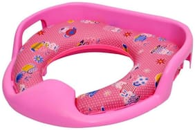 Sed Lavatory Potty Seat Cushioned For Kids With Handle Pink