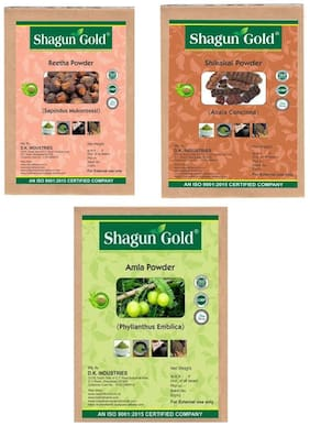 Shagun Gold Natural Amla, Reetha & Shikakai powder 300g for hair growth & hair smoothing