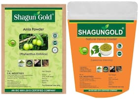 Shagun Gold 100% Pure Natural Amla & Henna powder 200g for hair growth & hair coloring