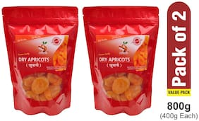 SHARA'S DRY FRUITS Premium Dry Apricots I Khubani 400g (Pack of 2)