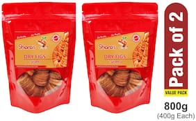 SHARA'S DRY FRUITS Premium Dry Figs(Anjeer) 400g (Pack of 2)