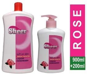 SHEER Hand wash 900ml Refill Pack+200ml Pump  (Rose) pack 2 (900ml +200ml)