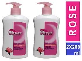 SHEER Hand wash 2X200ml  (Rose) pack 2,(200ml each)