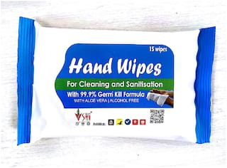 SHI Hand Wipes/Wet Wipes with Aloe Vera for Cleaning and Sanitization Pack of 1 (15 Wipes)