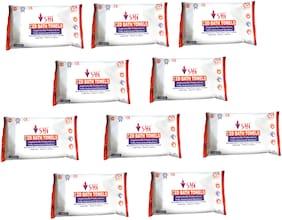 SHI Hygiene Bed Bath Towel Wet Wipes For Face Men Women Cleansing & Refreshing Sponge Bath Pack of 10