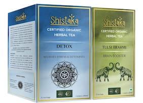 Shistaka Detox/Tulsi Brahmi Green Tea Bags Box 25 Teabags (Pack Of 2)