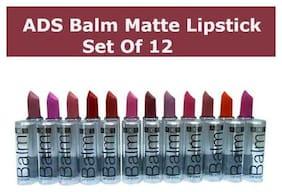 Shopeleven ADS Balm Matte Lipstick Multicolor ( Pack of 12 ) long-Lastick Women & Girls (multicolor) 3 g Each