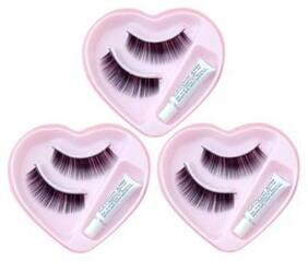SHOPFLY Heart Shape False-Fake Eyelashes With Glue Set Natural (Pack of 3)