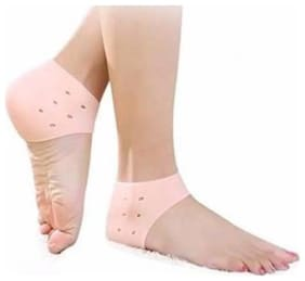 Silicone Gel Pad Socks for DRY heel Pain Relief   Foot Care and Ankle Support Cushion(pack of 2 pairs)