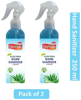 Simco Oxyveda Aleovera Hand Sanitizer 250 ml each Pack of 2