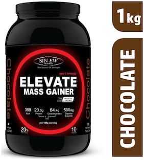 Sinew Nutrition Elevate Mass Gainer Complex Carb & Proteins In 3:1 Ratio With Digienzymes 1 kg (2.2 lb) - Chocolate Flavor