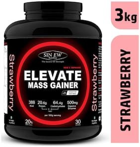 Sinew Nutrition Elevate Mass Gainer Complex Carb & Proteins In 3:1 Ratio With Digienzymes 3 kg (6.6 lb) - Strawberry Flavor