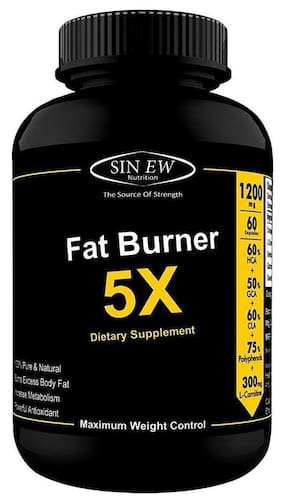 Sinew Nutrition Natural Fat Burner 5X (Green Tea L-Carnitine Conjugated Linoleic Acid Green Coffee & Garcinia Cambogia Extract) - 1200 mg (60 Veg Capsules)