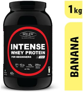 Sinew Nutrition Intense Whey Protein For Beginner's With Digestive Enzymes Protein Supplement - Banana Flavour 1 kg