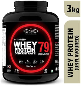 Sinew Nutrition Instantised Raw Whey Protein Concentrate 79% Raw & Unflavoured 3 kg (100 Servings) Supplement Powder