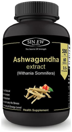 Sinew Nutrition Ashwagandha General Wellness Tablets 500mg (60 No.) | Anxiety Relief Stress Support & Mood Enhancer Natural Supplement
