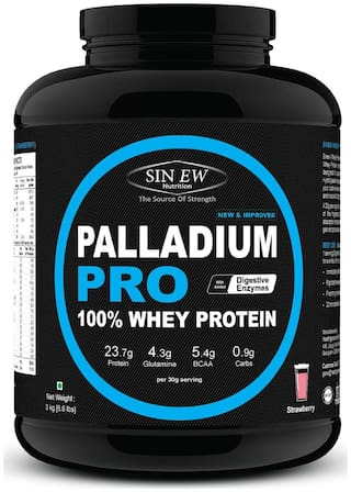 Sinew Nutrition Palladium Pro Whey Protein With Digestive Enzymes 3 kg (Strawberry Flavour)