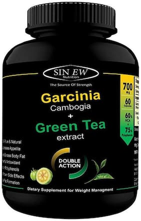 Sinew Nutrition Green Tea And Garcinia Cambogia Extract 700 mg (60 Pure Veg Capsules) 100 % Pure & Natural Weight Management & Appetite Suppressant Supplement