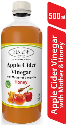 Sinew Nutrition Raw Apple Cider Vinegar (Unfiltered & Unpasteurised) With Strand of Mother And Honey 500 ml