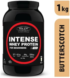 Sinew Nutrition Intense Whey Protein For Beginner's With Digestive Enzymes Protein Supplement - Butterscotch Flavour 1 kg