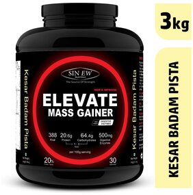 Sinew Nutrition Elevate Mass Gainer Complex Carb & Proteins In 3:1 Ratio With Digienzymes 3 kg (6.6 lb) - Kesar Badam Pista Flavor
