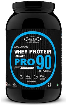 Sinew Nutrition Raw Whey Protein Isolate Pro 90% With Digestive Enzymes 1 kg (Unflavoured)