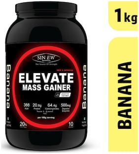 Sinew Nutrition Elevate Mass Gainer Complex Carb & Proteins In 3:1 Ratio With Digienzymes 1 kg (2.2 lb) - Banana Flavor