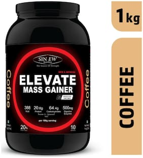 Sinew Nutrition Elevate Mass Gainer Complex Carb & Proteins In 3:1 Ratio With Digienzymes 1 kg (2.2 lb) - Coffee Flavor