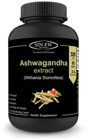 Sinew Nutrition Ashwagandha General Wellness Tablets 500 mg (90 No.) | Anxiety Relief Stress Support & Mood Enhancer Natural Supplement