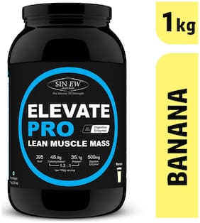 Sinew Nutrition Elevate PRO Lean Muscle Mass Gainer Protein Powder with Digestive Enzymes;Banana;1kg