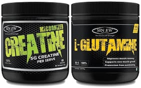 Sinew Nutrition Micronised Creatine Monohydrate - 300 gm And 100% Pure L-Glutamine Powder 330 gm