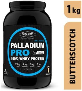 Sinew Nutrition Palladium Pro Whey Protein With Digestive Enzymes 1 kg (Butterscotch Flavour)