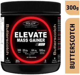 Sinew Nutrition Elevate Mass Gainer Complex Carb & Proteins In 3:1 Ratio With Digienzymes 300 gm / 0.66lb - Butterscotch Flavor
