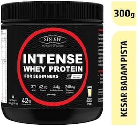 Sinew Nutrition Intense Whey Protein for Beginner's With Digestive Enzymes Protein Supplement - Kesar Badam Pista Flavour 300 g