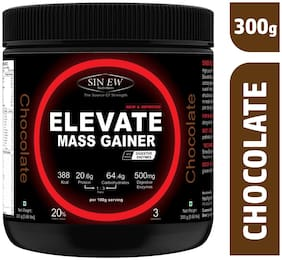 Sinew Nutrition Elevate Mass Gainer Complex Carb & Proteins In 3:1 Ratio With Digienzymes 300 gm / 0.66lb - Chocolate Flavor