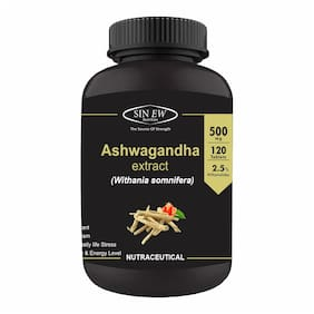 Sinew Nutrition Ashwagandha General Wellness Tablets 500mg (120 No.)   Anxiety Relief Stress Support & Mood Enhancer Natural Supplement Immunity/Immunity Booster