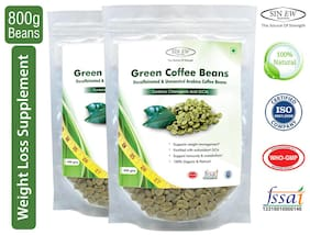 Sinew Nutrition Green Coffee Beans Decaffeinated & Unroasted Arabica Coffee -400 gm (Pack of 2) For Weight Management
