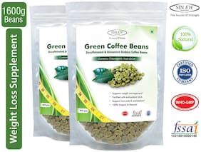 Sinew Nutrition Green Coffee Beans Decaffeinated & Unroasted Arabica Coffee - 800 g (Pack of 2) For Weight Management
