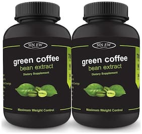Sinew Nutrition Green Coffee Beans Extract 700 mg (90 Pure Veg Capsules) Pack of 2 100 % Pure & Natural Weight Management & Appetite Suppressant Supplement