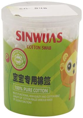 SINWUAS Cotton Ear Buds - Two Sided    (Pack of 200 pieces)