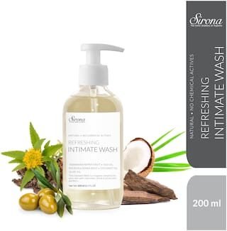 Sirona Natural pH balanced Intimate Wash with 5 Magical Herbs & No Chemical Actives - Helps Reduce Odor;Itching & Maintains Hygiene for Men and Women - 200 ml