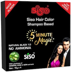 Siso 5 min Hair Color - BLACK - (16 sachets X 15g)