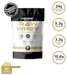 Six-Pack-Nutrition 100% Raw Whey Protein Powder 5.5 lb/2.5 kg - 83 Servings - Unflavored