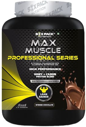 Six Pack Nutrition Max Muscle Mass Gainer High Protein Creatine Whey Casein Protein Supplement Blend - Intense Chocolate - 2 Kg