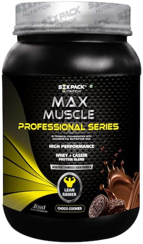 Six Pack Nutrition Max Muscle Mass Gainer High Protein Creatine Whey Casein Protein Supplement Blend - Choco Cookies - 1 Kg