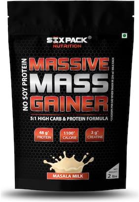 Six Pack Nutrition Massive Mass Gainer Protein Powder with creatine 908 g (Masala Milk)