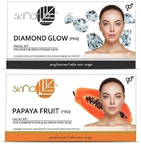 Skinatura Diamond Glow + Papaya Fruit Facial Kit,115g each (Pack of 2)