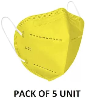 SKITTER N95 Mask Yellow Color Pack of 5, 6 layers 225 GSM protection (Without Filter/Valve) Reusable (6 Layer)