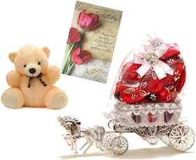 Skylofts Beautiful Horse Chocolate Gift with a cute soft teddy & birthday card - 10 pcs